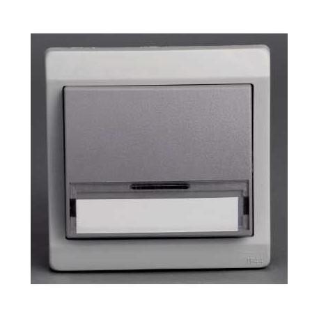 bouton poussoir porte etiquette gris encastr schneider mureva. Black Bedroom Furniture Sets. Home Design Ideas