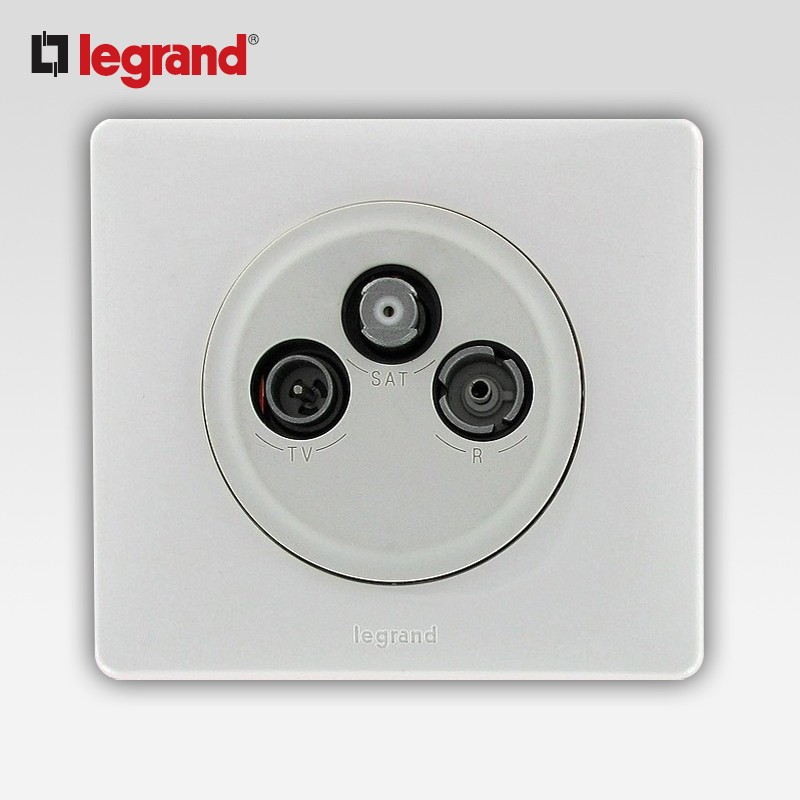 Legrand celiane prise tv r sat 2 cables blanc complet - Prise tv sat ...