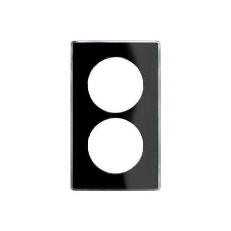 plaque you noir 2 postes entraxe 57 schneider odace support blanc s520914z. Black Bedroom Furniture Sets. Home Design Ideas