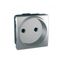 Prise de Courant 2P 10/16ABorne a Vis 2 Modules - Aluminium Schneider Unica