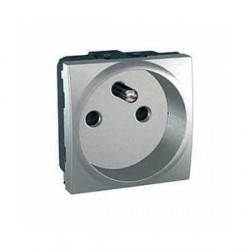 Prise de Courant 2P+T 10/16A Avec Borne a Vis 2 Modules - Aluminium Schneider Unica