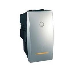 Interrupteur Bipolaire Lumineux (témoin) 16 A bornes à vis 1 Module - Aluminium Schneider Unica