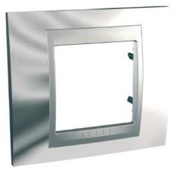 Plaque de Finition 1 Poste 2 Modules - Chrome Brillant liseré Aluminium Schneider Unica