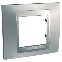 Plaque de Finition 1 Poste 2 Modules - Chrome Satiné liseré Aluminium Schneider Unica
