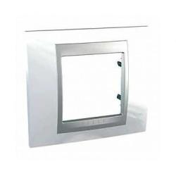 Plaque de Finition 1 Poste 2 Modules - Blanc Techno liseré Aluminium Schneider Unica