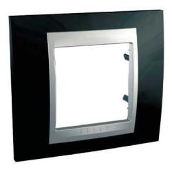 Plaque de Finition 1 Poste 2 Modules - Noir Rhodium liseré Aluminium Schneider Unica