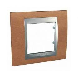 Plaque de Finition 1 Poste 2 Modules - Cerisier liseré Aluminium Schneider Unica