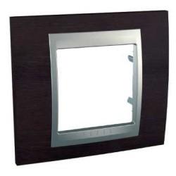 Plaque de Finition 1 Poste 2 Modules - Wenge liseré Aluminium Schneider Unica