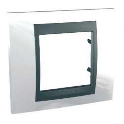Plaque de Finition 1 Poste 2 Modules - Blanc Techno Graphite Aluminium Schneider Unica