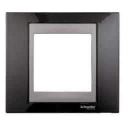 Plaque de Finition 1 Poste 2 Modules - Noir Rhodium Graphite Aluminium Schneider Unica