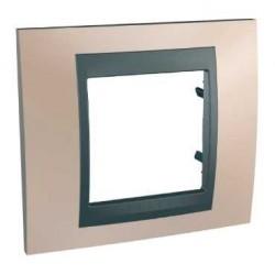 Plaque de Finition 1 Poste 2 Modules - Cuivre Onyx Graphite Aluminium Schneider Unica