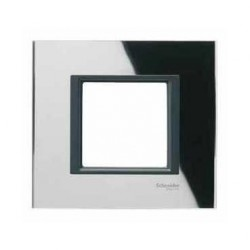 Plaque de Finition 1 Poste 2 Modules - Miroir Noir liseré Noir Schneider Unica