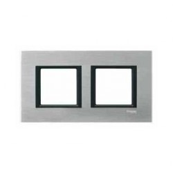 Plaque de Finition 2 Postes 2x2 Modules 71mm - Aluminium Ice liseré Noir Schneider Unica