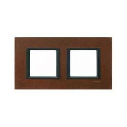 Plaque de Finition 2 Postes 2x2 Modules 71mm - Oxyde liseré Noir Schneider Unica