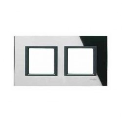 Plaque de Finition 2 Postes 2x2 Modules 71mm - Miroir Noir liseré Noir Schneider Unica