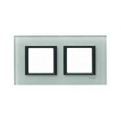 Plaque de Finition 2 Postes 2x2 Modules 71mm - Verre Gris liseré Noir Schneider Unica