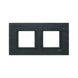 Plaque de Finition 2 Postes 2x2 Modules 71mm - Ardoise liseré Noir Schneider Unica