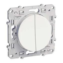 Interrupteur Double Va et vient Lumineux (1 avec LED, 1 sans LED) Blanc Schneider Odace