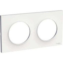 Plaque Blanc Brillant 2 Postes entraxe 71 Schneider Odace Styl