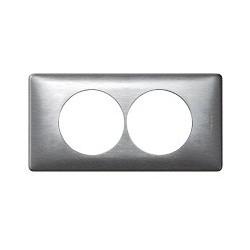 Plaque aluminium 2 postes Legrand celiane entraxe 57mm