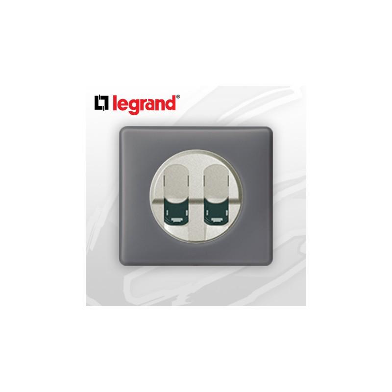 Legrand c liane complet poudr prise double rj45 cat 6 schiste - Prise rj45 double ...