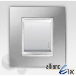 Interrupteur 2m lum localisation lux titane sur blanc complet + support Gewiss Chorus