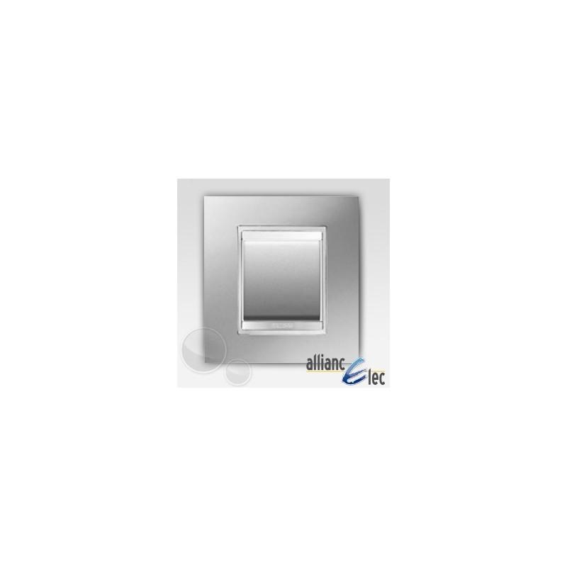 interrupteur 2 modules lux titane complet support gewiss. Black Bedroom Furniture Sets. Home Design Ideas
