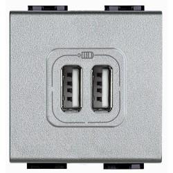 chargeur usb prise double livinglight 5 v 230 v tech 2 modules