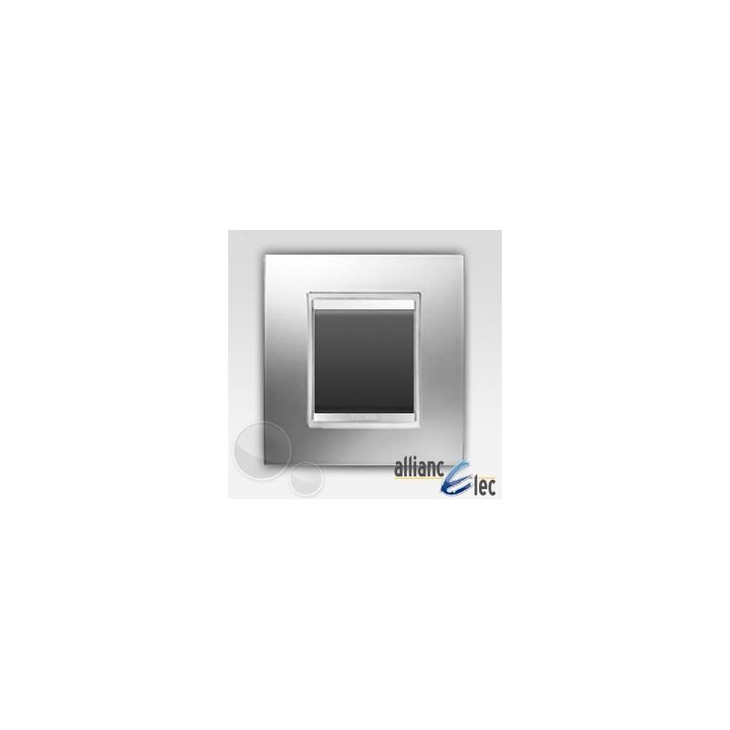 interrupteur 2 modules lux chrome sur noir complet. Black Bedroom Furniture Sets. Home Design Ideas