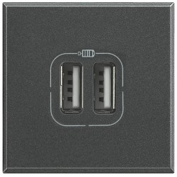 chargeur usb prise double axolute 5 v 230 v anthracite 2 modules