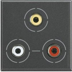 connecteur 3 x rca axolute anthracite 2 modules