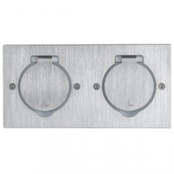 Platinum - Platine rectangulaire double poste à équiper - IP44/IK08 -inox brossé
