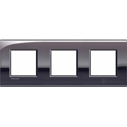 Plaque Livinglight Air Brillant 2+2+2 modules entraxe 71 mm - Étain