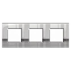 Plaque Livinglight Air Brillant 2+2+2 modules entraxe 71 mm - Nickel mat