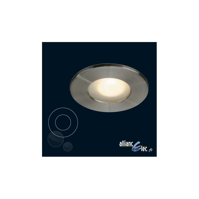 Rio spot encastr 1 x 50w spot rond acier bross luminaire for Spot encastre salle de bain