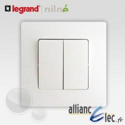 Double interrupteur ou va et vient Legrand Niloe Pur Blanc