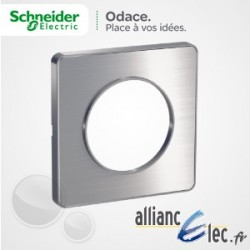 Plaque Alu Brossé 1 Poste Schneider Odace Touch Matière avec liseré alu