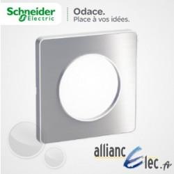 Plaque Alu Brossé 1 Poste Schneider Odace Touch Matière avec liseré blanc