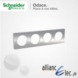 Plaque Alu Brossé 4 Postes entraxe 71 Schneider Odace Touch Matière avec liseré blanc