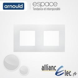 Plaque Blanc Lumière 2 postes Double Horizntale ou Vertical entraxe 71mm Arnould Espace
