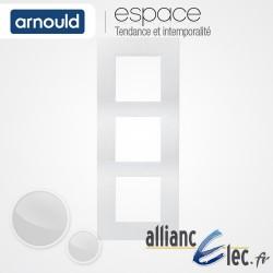 Plaque Blanc Lumière 3 postes Triple Vertical entraxe 57mm Arnould Espace