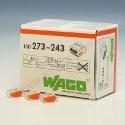 Borne de connexion Wago 3 entrees Orange automatique x100