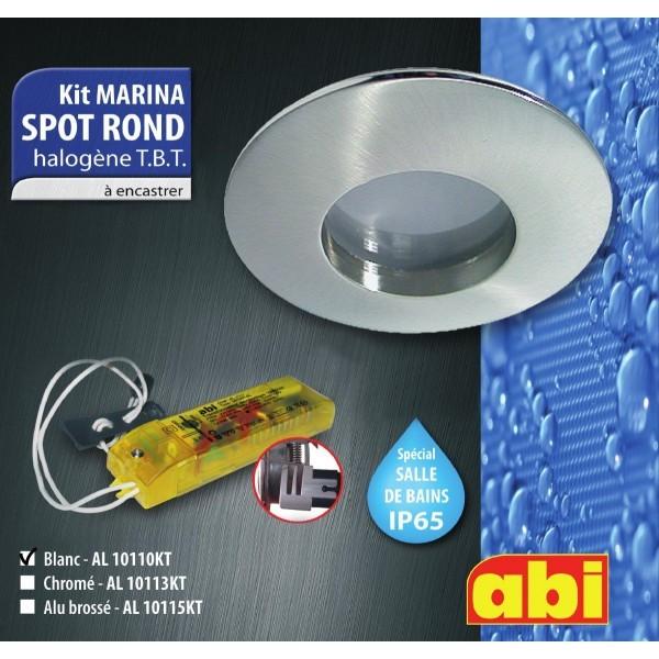kit spot abi rond blanc halog ne salle de bain a encastrer ip65 al10110kt. Black Bedroom Furniture Sets. Home Design Ideas