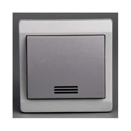 bouton poussoir lumineux gris encastr schneider mureva. Black Bedroom Furniture Sets. Home Design Ideas
