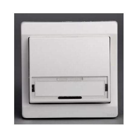 bouton poussoir porte etiquette blanc encastr schneider mureva. Black Bedroom Furniture Sets. Home Design Ideas