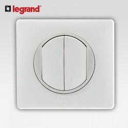 Double poussoir Legrand celiane blanc complet avec support