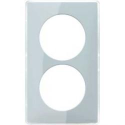 Plaque You Vert d'eau 2 Postes Entraxe 57 Schneider Odace Support Blanc