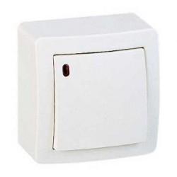 Interrupteur Poussoir O/F Lumineux Faible Consommation Saillie Schneider Alréa Blanc Complet