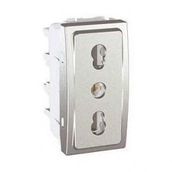 Prise de Courant 2P+T Standard Italien 10/16A2 Modules - Aluminium Schneider Unica