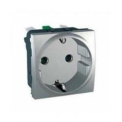 Prise de Courant 2P+T Standard Allemand 10/16A 2 Modules - Aluminium Schneider Unica
